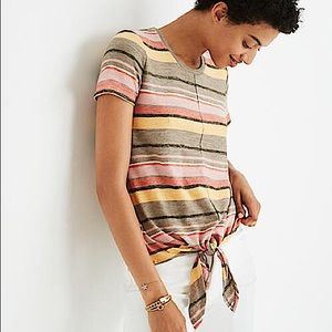 Madewell Texture & Thread Stripe Tie-Front Top